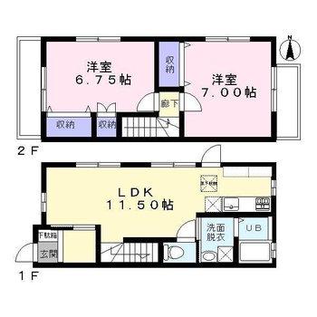 横長のLDKと2階の2つの洋室