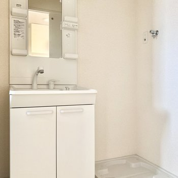 独立洗面台、隣に洗濯パン。シンプルな脱衣所です。
