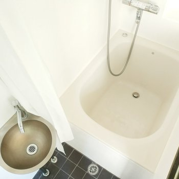 洗面台とお風呂はお手入れ簡単な大きさでナイス!