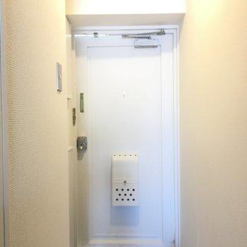 玄関周りは清潔感のある白でまとめられています。