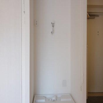 洗濯機置場は室内に。