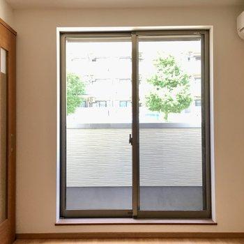 窓からは街路樹が見えます。