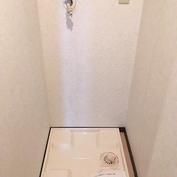 洗濯機置き場兼、脱衣所です(※写真は7階の同間取り別部屋のものです)