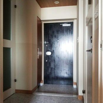 玄関は黒でシックにまとめています。※フラッシュ焚いてます