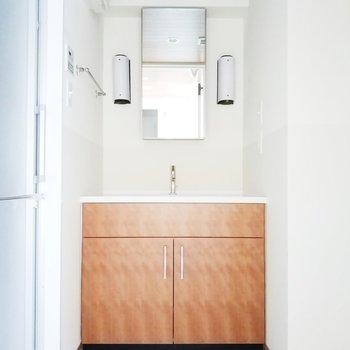 サニタリールームは独立洗面所がお出迎え。※フラッシュ焚いてます