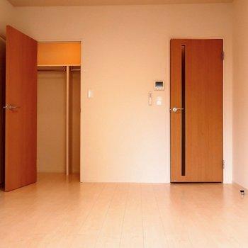 2つある扉の左側が収納※写真は2階の同間取り別部屋のものです