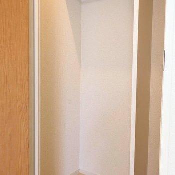 ハンガーパイプ付きで上部に棚もあります。※写真は2階の同間取り別部屋のものです