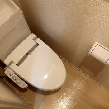 右側扉を開けるとトイレがあります。脱衣所と仕切られていますよ。※写真は2階の同間取り別部屋のものです