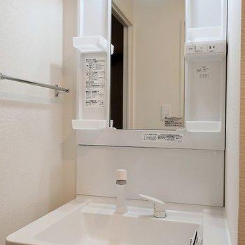 左側に洗面台があります。※写真は2階の同間取り別部屋のものです