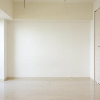 収納側の壁。こちらにはテレビなどを置きますかね。