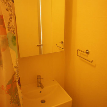 シンプルな洗面台もついております。※写真は似た間取りの別部屋