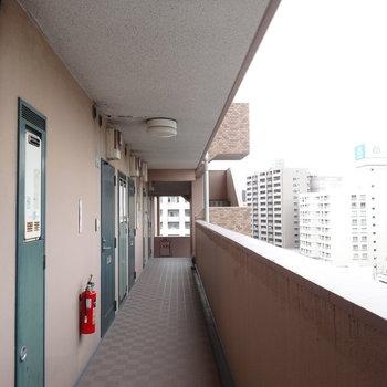 共用部もキレイです。9階なので景色もいいですよ。(※写真は9階の反転間取りの別部屋のものです)