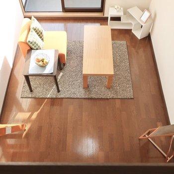 ハイ!恒例の「上から眺めてみました」のお時間です!※写真は2階の反転間取り別部屋、モデルルームのものです