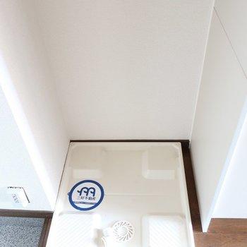 洗濯パンは玄関すぐのところにあるので目隠しの布を使うのもいいかも!※写真は2階の反転間取り別部屋、モデルルームのものです