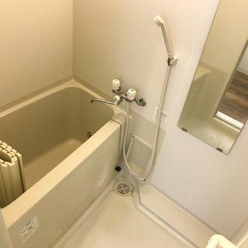 お風呂はシンプルです。※クリーニング・電気がつく前の写真
