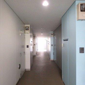 共用廊下は水色で爽やかに。
