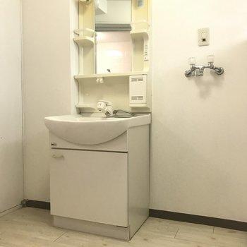 洗面エリアにはゆとりがあります。
