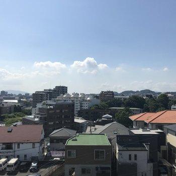 ここからの眺め、気持ちいい〜。空が広〜い!
