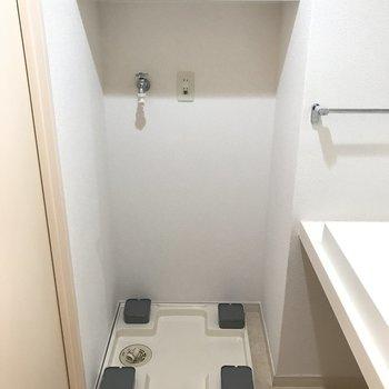 洗濯パンも脱衣所に、上部の棚にはタオルや洗剤もしっかり置けますね。