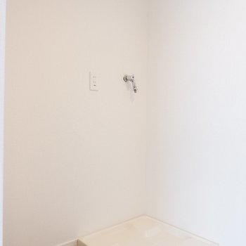キッチン背面に冷蔵庫と洗濯機置場。