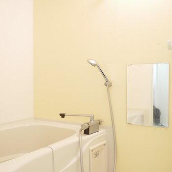 浴室の鏡はちょっと小さめ