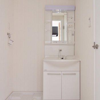 独立洗面台横に洗濯機。※間取り図が反転したお部屋の写真