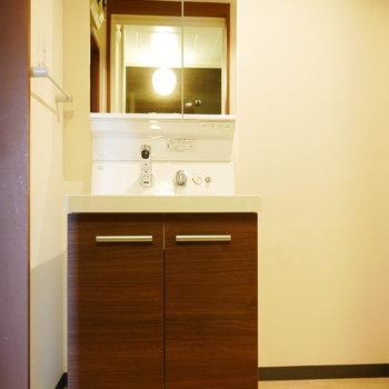 独立洗面台に大きな鏡