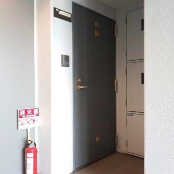 共用部はしっかりと清潔です。エレベーターの真横で至福。