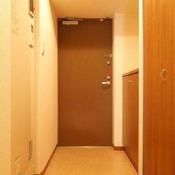 玄関横には大きめのシューズボックス+クローゼット※写真は同間取り別部屋のものです。