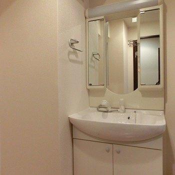 鏡のカタチが可愛らしいシャワーノズルのある洗面台※写真は同間取り別部屋のものです。