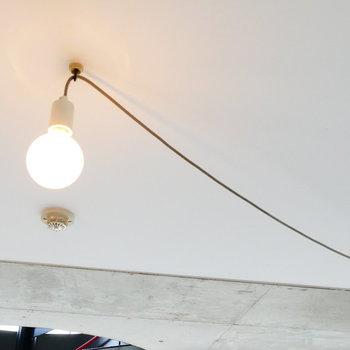 天井のライトはお好きな位置で。調光も可能です。