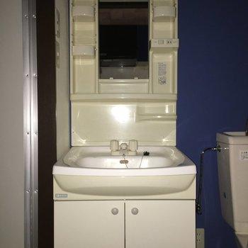 洗面台は収納がたくさんあって便利そう!※写真は1階別部屋反転似た間取りです。