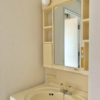 収納たっぷりな独立洗面台※写真は通電前のものです