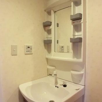 洗面台は普通です。※写真は3階の同間取り別部屋のものです。