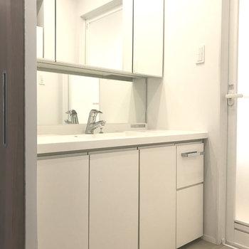 シンプルスタイルな洗面台。収納もた〜っぷり!※写真は別室です