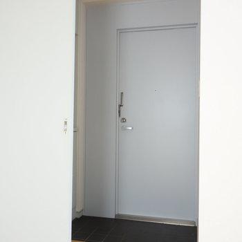 玄関前には一枚引き戸があります。