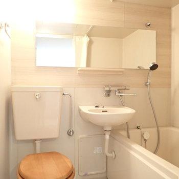 大きな鏡がいいでしょう。木製便座はつきません※写真は前回リノベーションしたお部屋です。