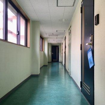 共用部の廊下です。ネイビーの扉がおしゃれ!手前のお部屋です。