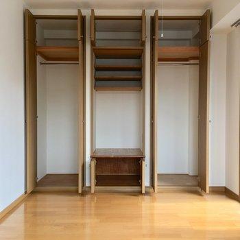 じゃーん!6箇所の扉を開けるとかなりの収納スペースです。