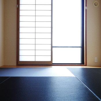 和室は濃紺の畳、初めてみました!