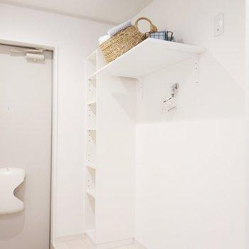 洗濯機置場上に棚が。ここに洗剤置きましょう。