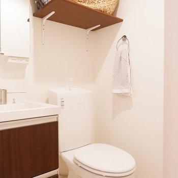 トイレ上に棚があるのは嬉しい。
