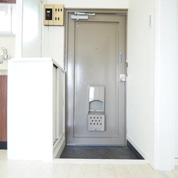 玄関扉はレトロ