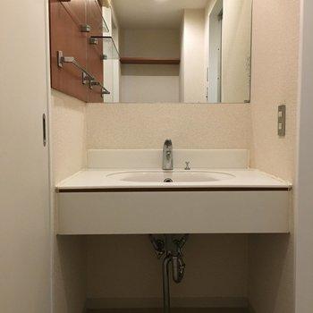 洗面台はオシャレ。ガラスの棚が映える。