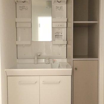 大きな洗面台と隣には備え付けの棚が※2階の同じ間取りの別部屋の写真