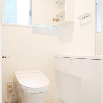 トイレは個室で窓も鏡面も収納も!最高です。
