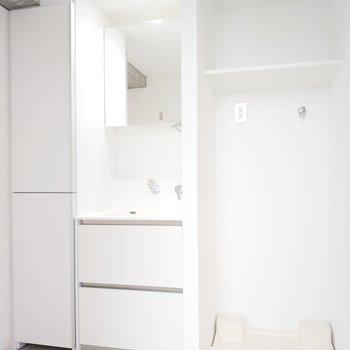 独立洗面台も収納多めで、横には洗濯パンがあります。