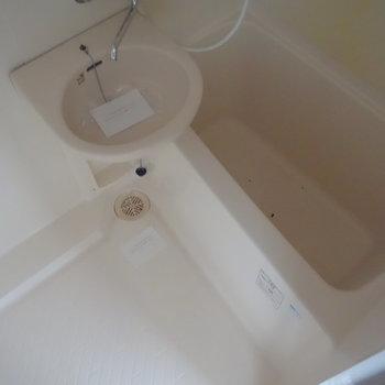 トイレとは別なので、浸かって休めますね。 ※通電前の写真です