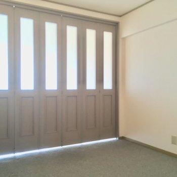 扉を閉めるとこんな感じ。コチラの床はカーペットです※クリーニング前の写真です