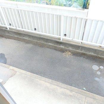 1階なのでベランダはこんな感じ。洗濯機は外置きになります